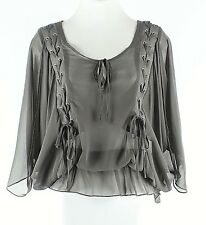 Cecico NEW $58 S Charcoal Sheer Blouson Braid Detail Polyester Boho Top G011