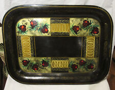 """ANTIQUE VINTAGE HAND PAINTED TOLEWARE TRAY STRAWBERRIES RINGS 20 1/4"""""""