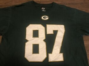 Jordy Nelson 87 Green Bay Packers NFL Majestic Large T Shirt