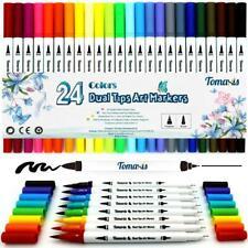 Hochwertige Dual Brush Pen Set Pinselstifte 2 Spitzen Stift Malerei I 24 Farben