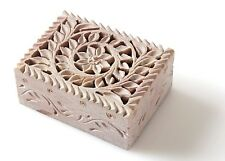 Nirvana-Class 4 Inch Handmade Soapstone Carving Jewelry Box For Women's Gift