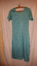 LADIES  VINTAGE  RETRO ? ASIAN WEDDING ? DRESS TERQUISE/GREEN WITH GOLD PATTERN