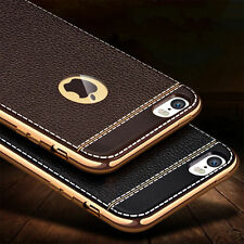 Luxury Ultra Slim PU Leather Back Soft Silicone Chrome Bumper Phone Case Cover