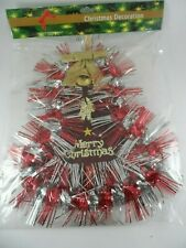 NIP Merry Christmas Glittered Red & Silver Bell Party/ Christmas Decoration