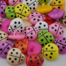 "Pkg of 20 LADYBUG Plastic SHANK Buttons 1/2"" (13mm) Craft Scrapbook (2110)"