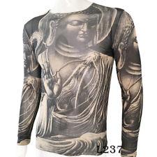 Jesus Buddha Tattoo Sport T-Shirt Tattoo Tops Biker Cycling Fitness Plus Size