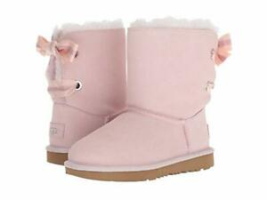 NIB UGG Girls Customizable Bailey Bow Classic Short Boots Seashell Pink 4 5 6