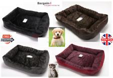 Luxury Fluffy Fur Rex Leather Soft Dog Pet Basket Bed Cushion Black Brown Grey