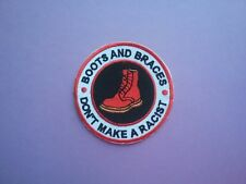 MOD SCOOTER SKA SOUL SEW & IRON ON PATCH:- BOOTS & BRACES DON'T MAKE ME A RACIST
