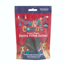 Rosewood Christmas Festive Dog Treats - Meat Filled Sweet Potato Antlers 3 Pack