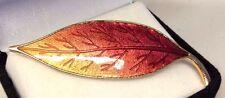 Enamel Leaf Brooch