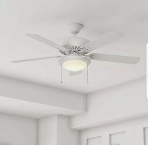 44 Inch Ceiling Fan LED Light Kit Reversible 5 Blades 3 Speed Room Matte White