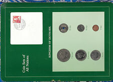 Coin Sets of All Nations Denmark 5 Ore 1984 10, 5, 1 Kroner 25, 10 Ore 1987
