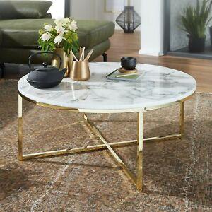 FineBuy Design Couchtisch Marmor Optik Weiß Wohnzimmertisch Ø 80 cm Tisch Rund
