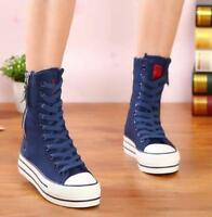 Womens Canvas High Top Sneakers Shoes Zip Ankle Boots Lace Up Flat Heels Fashion