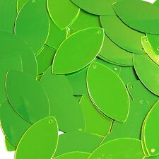 """Lime Green Fluorescent Metallic Shiny Navette Leaf 1.5"""" Couture Sequin Paillette"""