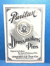 "Vintage ""Puritan"" Dressmakers Pins Harry Altman Co.Needle Milwaukee Wisconsin"