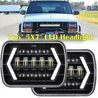 "2x 7x6'' 5X7"" 55W LED Projector Headlight Hi-Lo Beam Halo DRL For Jeep Cherokee"