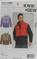KwikSew Pattern #3569 Men's Jackets Front Zipper Collar Size (S-M-L-XL-XXL)