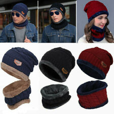 Winter Knitted Hat Men Fur Women Neck Warm Chunky Beanie Fleece Ski Cap