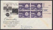 1960 Echo ! Satellite 4c FDC 1173 Artcraft Cachet Plate Block