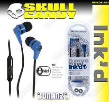 SKULLCANDY INK'D S2IKDY-101 EARPHONES WITH MICROPHONE BLUE/BLACK (GENUINE)