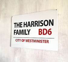 Personalised Family london street sign A4 metal plaque decor picture