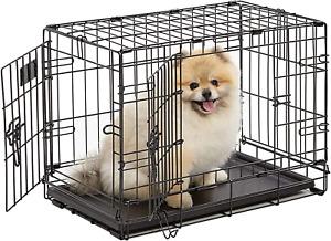 "22"" Dog Crate Double Door Folding Metal Dog Pet Crates, iCrate, Puppy, Travel"