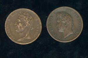 Colonies 1827 And 1844 2 Coins Charles X And Louis Philippe