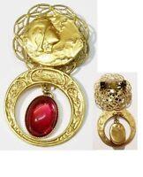 broche bijou vintage profil de femme en relief pampille couleur or * 5158