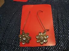 faceted flower made from stones Wonderful bronze metal earrings with
