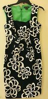 Jessica Howard Black And White Woman Floral Sleeveless Dress. Sz 8 Free Shipping