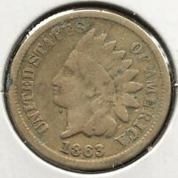 1863 Indian Head Cent 1c One Penny Circulated #10812