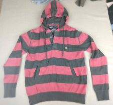 Mens Indian Terrain Sweater Hoodie Striped Red Button Sz L Draw String