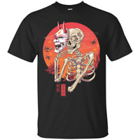 Hannya Yokai Mask Funny Skeleton Portrait Art Unisex Black T-Shirt S-6XL