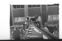 (1) B&W Press Photo Negative Classroom School Children Playing on Slide - T4525