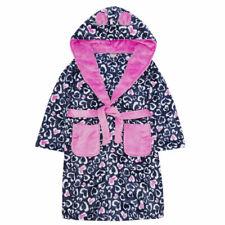 Girls Pink Leopard Robe Kids Hooded Soft Fleece Bath Robe Novelty Dressing Gown