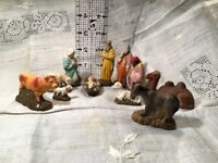 """Vintage Hand Painted-""""Japan NATIVITY""""-Originals-11 Pieces- Beautifully Painted"""