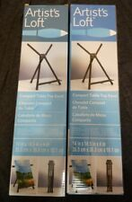 Lot of 2 Artist's Loft Compact Table Top Lightweight Aluminum Easels w/ Carriers