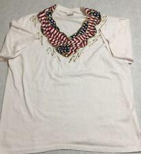 Hanes 50/50 Heavy Women American Flag Embroidery Collar Blouse Tshirt Sz Large L