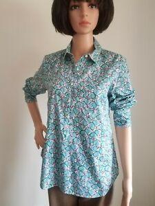 J Crew Women Tunic Shirt Size 8 Green Blue Heart Leaf Print Long Sleeve Popover