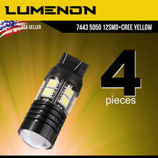 4 X 7443/7440 Yellow High Power 7W High Power LED Brake Tail Stop Light Bulbs