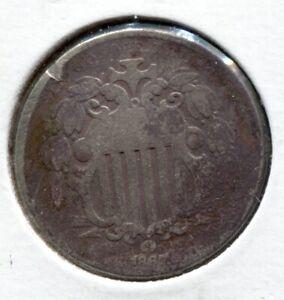 1867 RAYS 5C Shield Nickel - Lot # NS  061