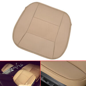 Universal Beige PU Leather Deluxe Seat Cushion Car Front Seat Cover Accessories