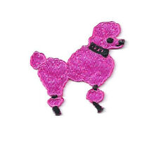 """Poodle - Dog - Fuchsia Pink - Embroidered Iron On Patches - SMALL 1.75"""" - R"""