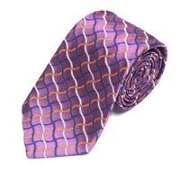 TURNBULL & ASSER Purple Wavy Blue Orange Rope Lattice Plaid Men's Silk Neck Tie