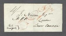 1832 Incoming British Transatlantic wrapper 39 1/2: NEW YORK - MONTREAL - QUEBEC