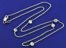 14k Solid white gold Diamonds by the yard Diamond necklace 5 station 16 inch 1ct