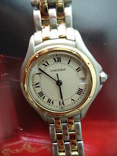 "AUTHENTIC CARTIER LADIES PANTHER 18K & SS COUGER WATCH 5.5"" TO 6""."