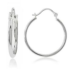 14K White Gold 1.3mm Round Hoop Earrings, 25mm